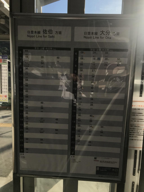 JR幸崎駅の日豊本線の時刻表
