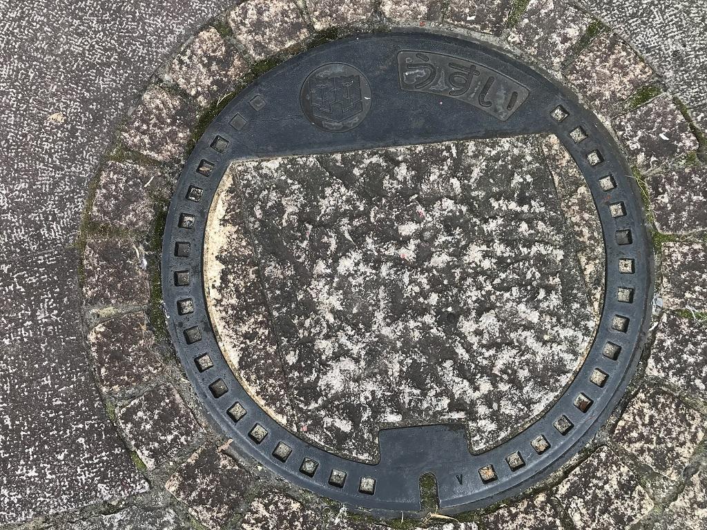 愛媛県松山市のマンホールの蓋 - 道後温泉本館前の歩道上のマンホールの蓋(うすい)