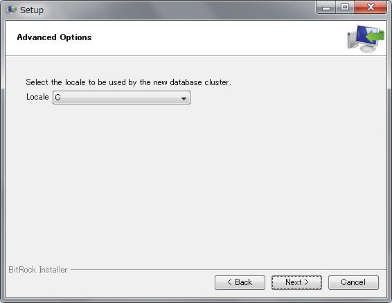 PostgreSQL 9のロケール指定画面(「C」を選択)
