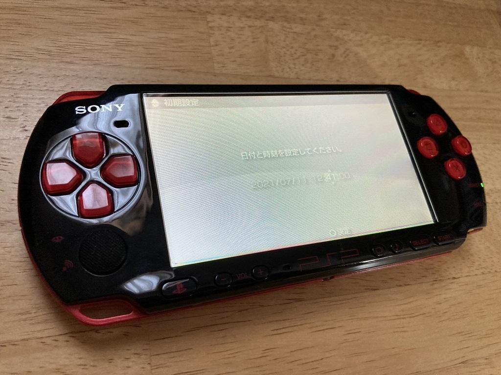 互換バッテリーで起動したSONY PSP-3000 XBRの初期設定画面(日付と時刻を「2021年7月11日12時41分」に設定中)