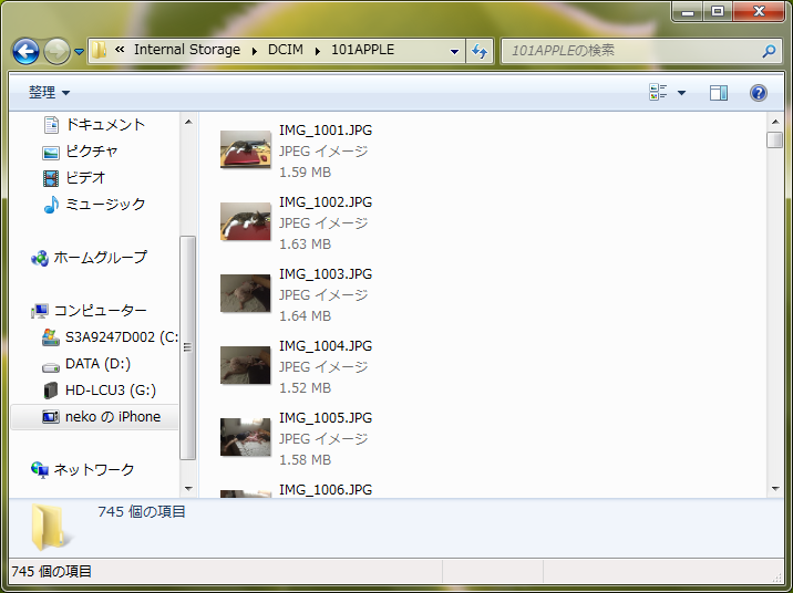 Windowsのエクスプローラで表示したiPhone内の写真のサムネイル