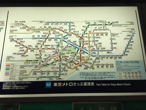 東京メトロ千代田線の代々木上原駅の東京メトロきっぷ運賃表