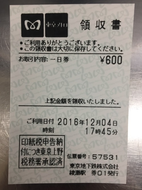 綾瀬駅で購入した東京メトロ24時間券の領収書
